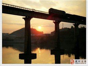 龙川县老隆镇东江河上游傍晚美丽风光