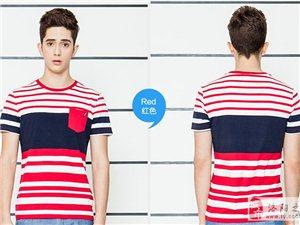 韩版条纹修身男士短袖T恤