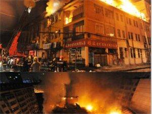 哈尔滨道外一处3层老建筑起火烧穿屋顶火光冲天