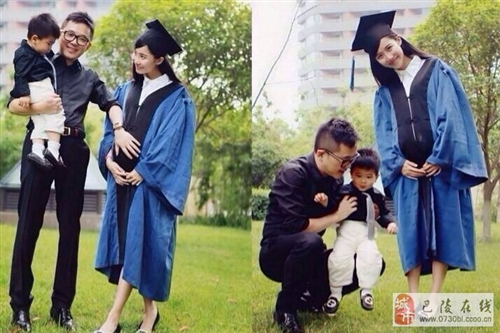 最牛女硕士:抱儿子怀女儿住豪宅拍毕业照[高清图]