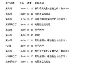 西岭国际影城 全部影厅2014-07-16放映计划表