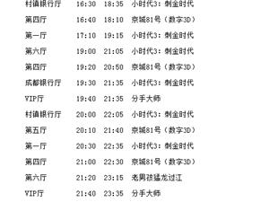 西岭国际影城 全部影厅2014-07-18放映计划表