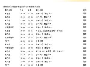 西岭国际影城全部影厅2014-07-19放映计划表