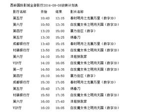 西岭国际影城全部影厅2014-08-08放映计划表