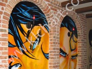 凯里壁画,凯里家居电视背景墙画 墙体彩绘油画