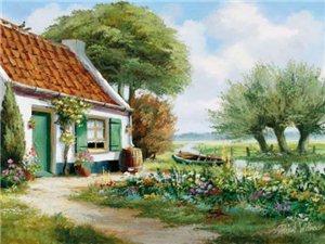 日出而作,日落而息,恬�o悠然的�l村生活。