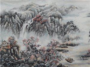 张笋山水画《秋山红叶》