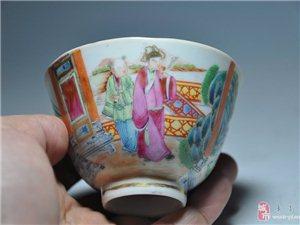 咸丰 广彩人物纹花口杯