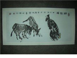 甘谷常喜水墨毛驴系列作品