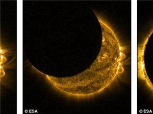 欧洲多地出现罕见日食奇观