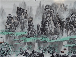 画家张笋国画山水小八尺