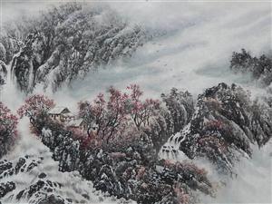 张笋国画山水6尺《松壑凝烟满谷香》