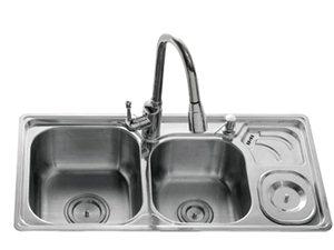 法恩莎卫浴不锈钢双槽盆FGP317