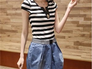 牛仔连衣裙两件套2014夏季新款女装韩版修身条纹短袖连衣裙