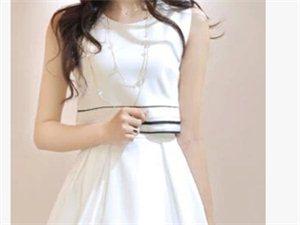 夏季新款条纹拼接后背开叉假两件背心雪纺连衣裙子夏装潮