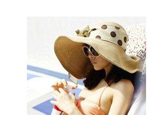女士夏天韩版草帽太阳帽大沿帽韩国遮阳帽大檐防晒沙滩帽