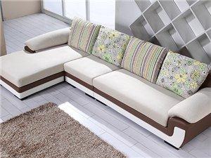 现代简约客厅双色皮布艺沙发组合沙发