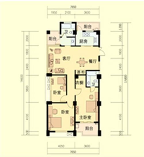 三室两厅一厨两卫 面积:132平米