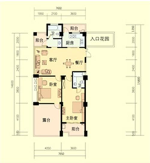 2室2厅2卫 面积:125平方米