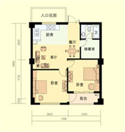 2室2厅1卫 面积:81平方米