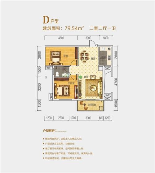 2室2厅1卫 面积:79平方米