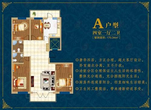 北疆经典 A户型 四室一厅二卫 170.34平米