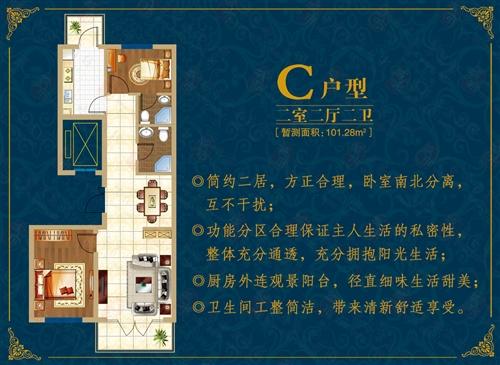 北疆经典 C户型 二室二厅二卫 101.28平米
