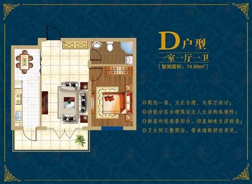 北疆经典 D户型 一室一厅一卫 74.99平米