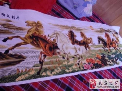 八駿圖,手工精繡 - 8000元