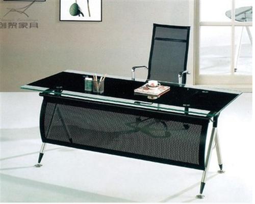 钢化玻璃大班台(老板桌、电脑桌)