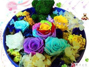 情人节礼物永生花彩虹玫瑰保鲜花节日礼盒全国包邮