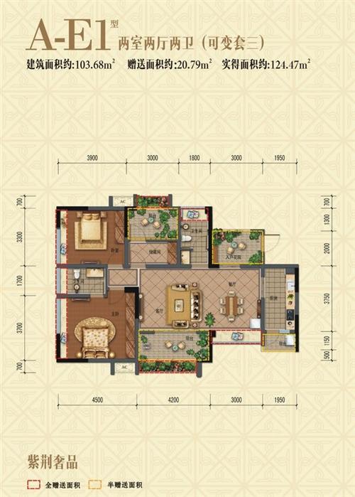 A-E1普通住宅 2室2厅2卫