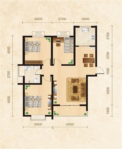 旭日华庭2-3号楼B4户型3室2厅1卫1厨129�O