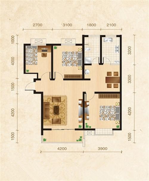 旭日华庭2-3号楼B5户型3室2厅1卫1厨126�O