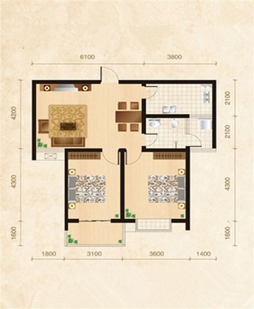 旭日华庭2-3号楼C2户型2室2厅1厨1卫99�O