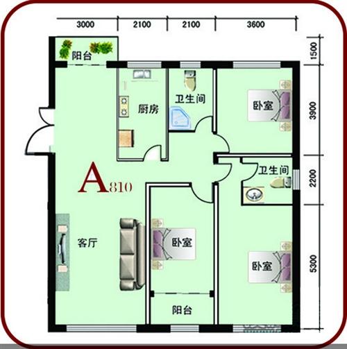 159.37㎡ 三室两厅两卫 A户