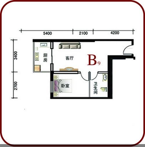58㎡ 一室两厅一卫 B户型