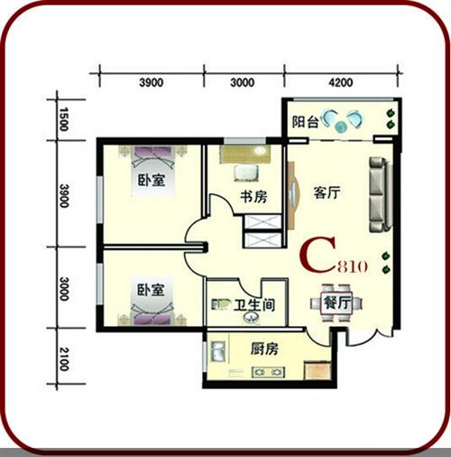 116.33㎡ 三室两厅一卫 C户