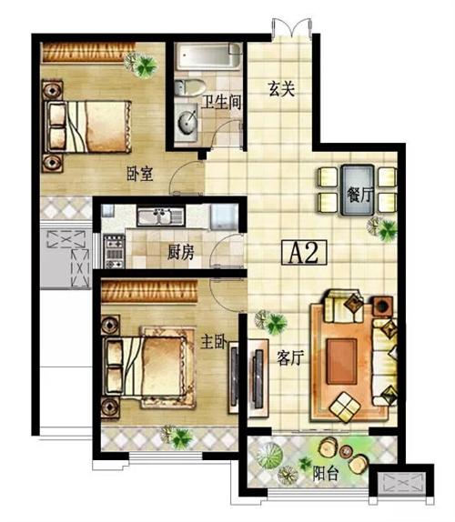两室一厅A2 户型图