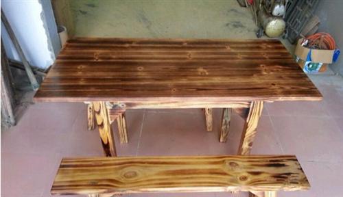 批發碳化木桌椅/燒烤桌子/火燒木桌椅 啤酒廣場