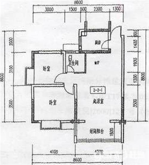 2室厅1卫  90米