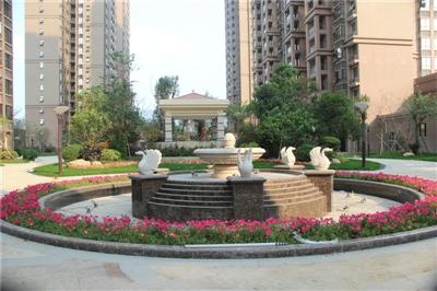 一期3月中庭园林喷泉