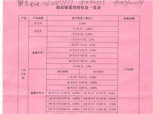 邮政储蓄理财收益一览表