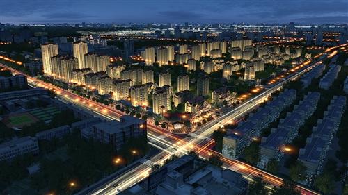 天润城规划图鸟瞰夜景